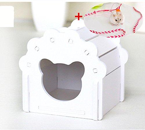Hamster Haus Käfig Holz Kauen Spielzeug DIY Colorful Hütte für Hamster Gerbil Rat Kleine Tiere Versteck mit frei Hamster Blei Leine (Leinen Hütte)