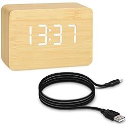 kwmobile Reloj despertador digital pequeño con aspecto de madera de abedul - activación táctil sonido e indicador de temperatura - con LEDs blancas