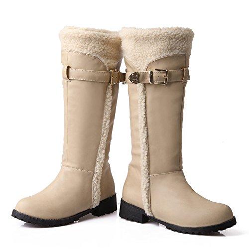 Hiver Beige Mi Bottes Lined Warm Confortable Femmes Mollet COOLCEPT fw4UE