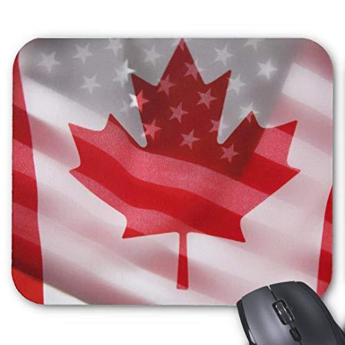 Mousepad Anti-Rutsch-Gummi Gaming Mauspad Rechteck Mauspad für Computer Laptop amerikanische und kanadische Flaggen Mauspad Mauspad -