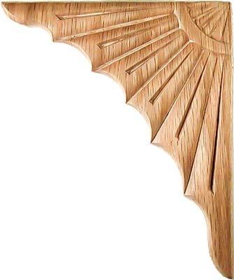 Eckapplikation W3-5718, Eichenfurniert, 2 Stück, 1 Paar, 15,2 x 12,7 cm, Antik- und Moderne Möbeltüren, Wände, geschnitztes Holz, Ornamentdekor, inkl. gratis Skelett-Schlüsselanhänger) -