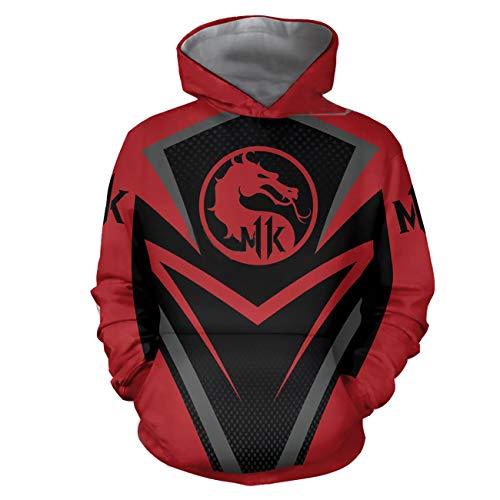 Cosplay T-Shirt Hoodie Sweatshirt Kostüm Halloween Cosplay T-Shirt Reißverschluss/Pullover Jacke (3XL, Rot) ()