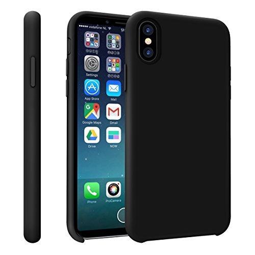 Iphone X Hülle iphone 10 Hülle, Bepack Silikon Gel Rubber HandyHülle Stoßfestes Shockproof Case Cover mit einem weichen Mikrofasertuch Futter Kissen für Apple iphone X 10 5.8 inch schwarz