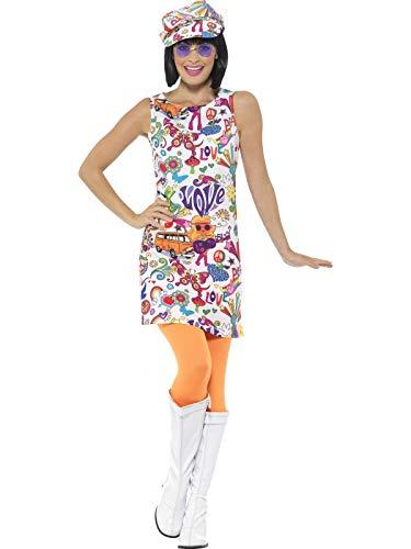 Smiffys Damen 60er Jahre Groovy Chick Kostüm, Kleid und Hut, Größe: 40-42, 44911 (Kostüm Für Eine 60er Jahre Party)