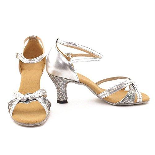 Minetom, sandali da ballo, per donne e ragazze, per balli latini, Tango, Samba Silver