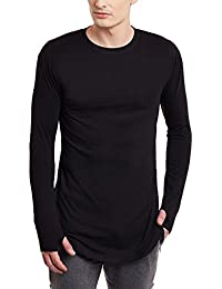 PAUSE Curved Bottom Longline Men's Full Sleeve Round Neck Black Cotton T-Shirt