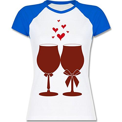 Symbole Weingläser Wein zweifarbiges Baseballshirt / Raglan TShirt für Damen  Weiß/Royalblau