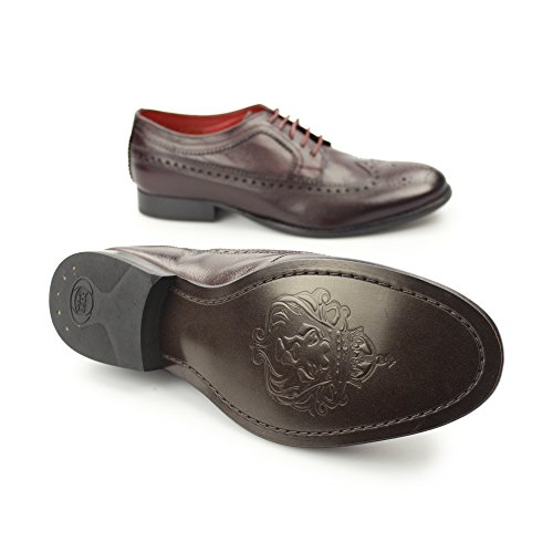 Base London Chaussures Hommes F/do Chamois Perforé Leather Bordo Reds