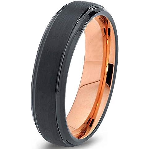 Tungsten Wedding Band Ring 6mm for Men Women Black & 18K Rose Gold Beveled Brushed Polished Lifetime