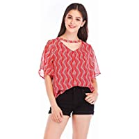 Good dress Manga Corta Acampanada Impresa Camiseta Suelta Superior de Gasa con Cuello en V para Mujer, Rojo, SG