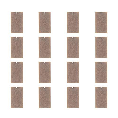 PandaHall Elite & reg Metallanhänger, Messing Blank Stamping Tag Anhänger, Rechteck, Antike Bronze, 32x18x0.5mm, Bohrung: 1mm