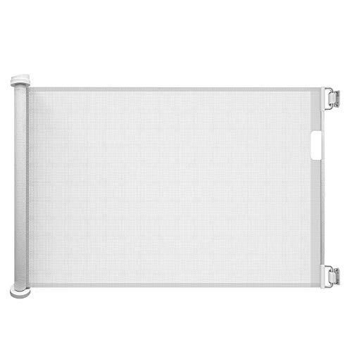 Callowesse - Puerta retráctil de malla para escalera (0-130 cm, 110 cm), color blanco