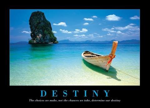 """1art1® - Poster motivazionale, """"Destiny Beach"""" e barca, 91 x 61 cm Senza cornice"""