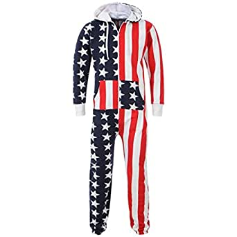 UNISEX MENS AZTEC PRINT ONESIE ZIP UP ALL IN ONE HOODED JUMPSUIT S M L XL XXL (SMALL, US FLAG PRINT)