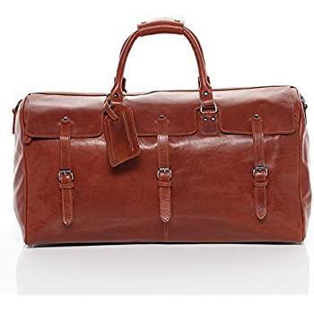 SID & VAIN® grand sac de voyage CHESTER - grand XL fourre-tout besace week-end - sac sport bagages cabine à main sac homme châtain clair sac cuir PpIlIPHwS