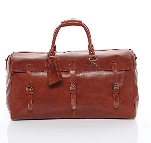 FEYNSINN® Reisetasche PHOENIX - Unisex Weekender XL groß Ledertasche - Sporttasche im Vintage-Look Damen Herren echt Leder hellbraun-cognac