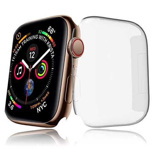 innoGadgets Apple Watch Series 4 Hülle [44mm] - Schutzhülle aus Silikon – Stoßfest und 100% transparent | Displayschutz Case Cover – Ultra dünn | Perfekter Schutz mit Touch-Funktion | Kristallklar