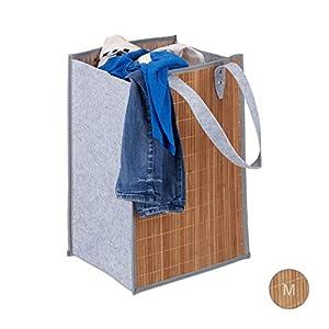 Relaxdays Wäschetasche tragbar, 70 L Aufbewahrung, große Henkel, aus Bambus und Filz, faltbarer Wäschekorb, natur-grau
