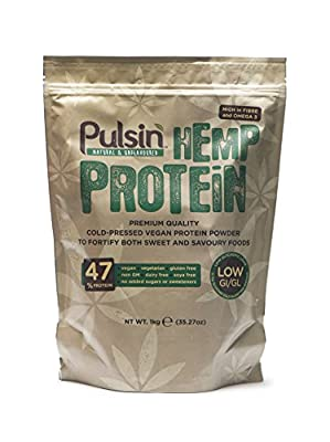 Pulsin' Unflavoured Hemp Protein Powder 1kg | 47% Protein | Natural |Vegan | Gluten Free | Soya Free | Dairy Free from Pulsin' Snacks