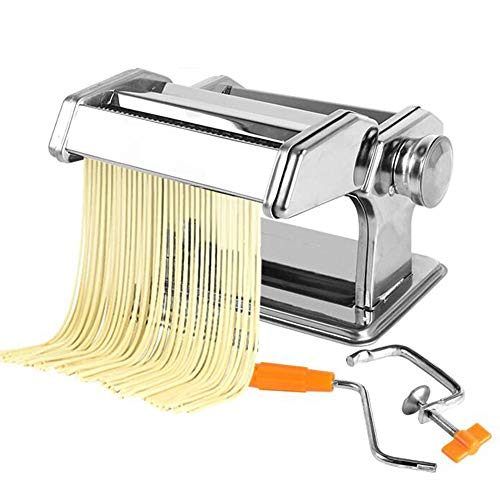 Small Pasta Maker Machine, Noodle Cutter Heavy Duty Stainless Steel Easy to Clean for Fresh Homemade Fettuccine Spaghetti Lasagne Dough Roller Press Cutter (Color : Silver)