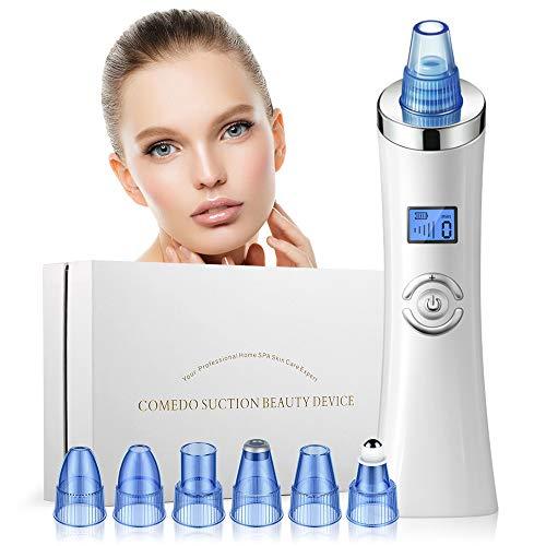 Mitesserentferner, Electric Wiederaufladbarer Mitesser Sauger Skin Vacuum Cleaner Pore Cleanser Gesicht Reinigung mit LED-Bildschirm mit 6 Austauschbare Schönheit Köpfe 5 Stufen (Weiß)