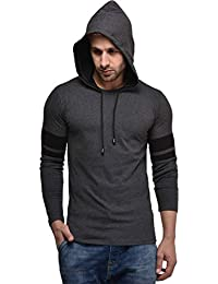 Cenizas Men's Hooded Full Sleeves Dual Tone Round Neck Casual Tshirt