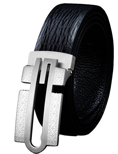 CUKKE Herren Echtes Büffel Leder Gürtel mit Schlupf Schnalle Jeans Hose Gürte l Voellig verstellbar 35mm Weiß 125cm (Weiß Hermes Gürtel Für Männer)