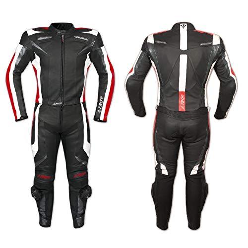 A-Pro Lederkombi Motorrad Rindsleder Jacke Hose Protektoren 2 Teilige Rot 56