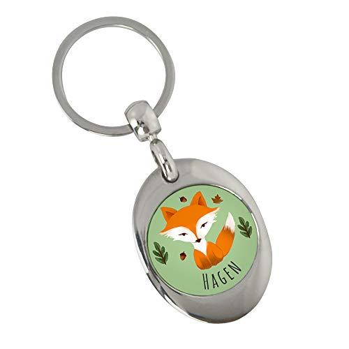 Eurofoto Schlüsselanhänger mit Namen Hagen und Fuchs-Motiv im Aquarell-Stil | Namens-Anhänger mit Einkaufs-Chip für Kinder und Erwachsene