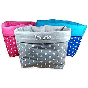 Aufbewahrungskörbchen Utensilo Sterne mit Namen Stoffkörbchen für Kinder personalisiert grau pink blau