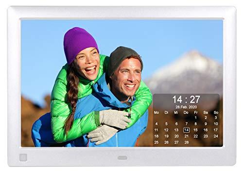 Cytem Diamine QS 10sw Digitaler Bilderrahmen 25,7cm (10.1 Zoll) in 16:10 HD IPS | Bewegungssensor | Transparenter Kalender | 4 Bild Anzeige | Vollbild-Uhr | Silber