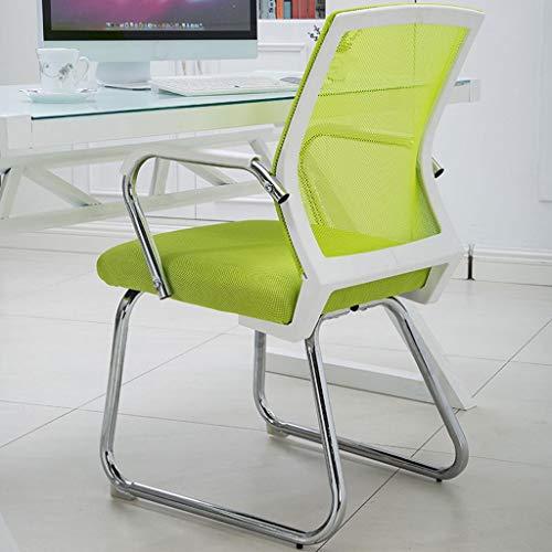 Schreibstühle Home-Office-Stuhl mit Amrests Moderne Möbel Wohnzimmer Empfang Stuhl mit dicken Kissen Mesh High Elastic Double Breathable Back Chair (Color : Green, Size : White frame)