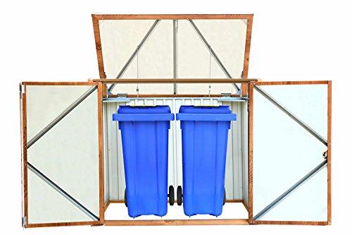 Mülltonnen-Box für zwei Tonnen, Metall Mülltonnen-Verkleidung Mülltonnenbox - 2