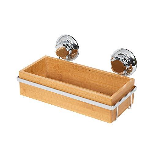 Compactor Estantería para el baño, Fijación con ventosas, Hasta 12 kg, Bambú y Acero Antioxidante, 27.6 x 14.8 x H.12.7 cm, RAN5807, Cromado/Bamboo, No aplicable