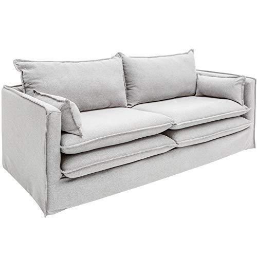 Invicta Interior Design 2er Sofa Cloud 195cm Hussenbezug hellgrau inkl. Kissen Landhausstil Hussensofa Couch 2-Sitzer