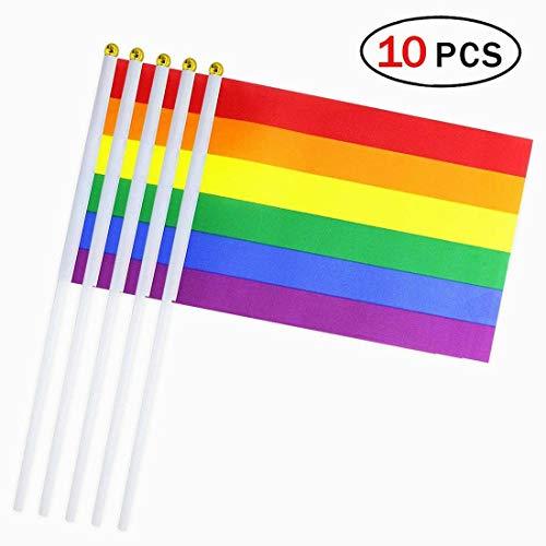 Gay Stick Fahne 10 Stück Kleine Mini-Hand gehaltene LGBT-Flaggen auf Stöcken Dekorationen Vorräte für Gay Pride Regenbogen Party ()