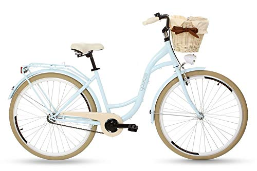 Goetze Colours 28 Zoll Damen Citybike Stadtrad Damenfahrrad Damenrad Hollandrad Retro-Design Korb Hinterradbremse LED-Beleuchtung Hellblau-Beige