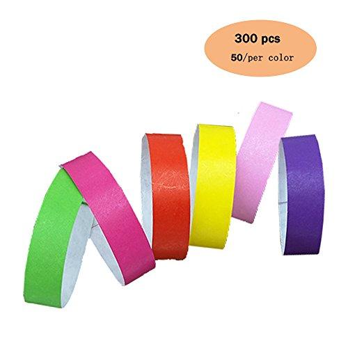 6 colori 300 pezzi Braccialetti di carta da 5 colori 250 conte 3/4'Polsini Tyvek-viola/rosso / verde/rosa / giallo/rosa