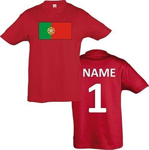Kids T-Shirt Portugal Ländershirt mit Wunschnamen und Nummer diverse Farben, Farbe rot, Größe 116
