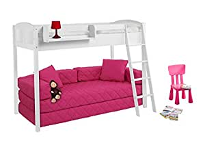 ida 4210 country lit mezzanine 150 cm lilokids blanc laqu incl sommier. Black Bedroom Furniture Sets. Home Design Ideas