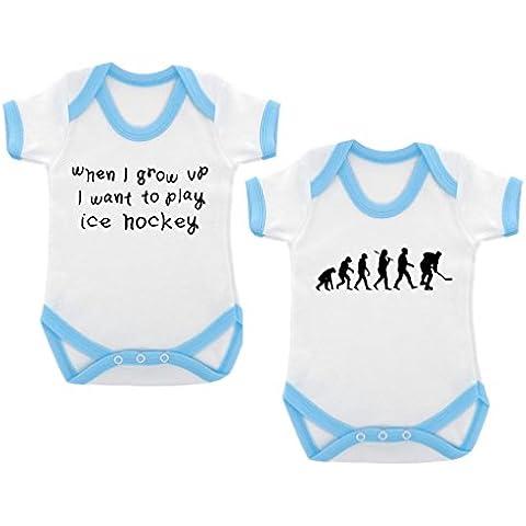 2-unidades de la evolución de Hockey sobre hielo y When I Grow Up... De Hockey sobre hielo Designs mono con diseño de bebé Azul claro contrastado y negro diseño de impresión