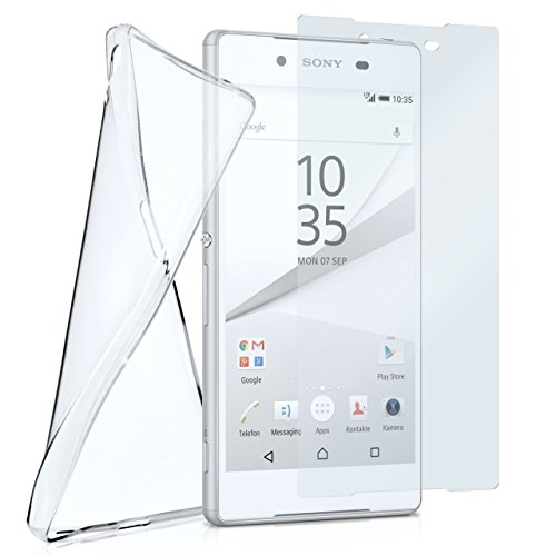 MoEx Silikon-Hülle für Sony Xperia Z5 + Panzerglas Set [360 Grad] Glas Schutz-Folie mit Back-Cover Transparent Handy-Hülle Sony Xperia Z5 Case Slim Schutzhülle Panzerfolie (Sony Slim Camera Case)