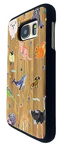 C0849 - Cool Fun Zoo Animals Bear Ostrich Giraffe Lion Kangaroo Squirrel Wildlife Design Samsung Galaxy S6 Coque Natural Véritable Bois Real Wood Coque