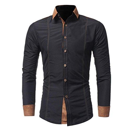 Sunnywill Herren Hemd Fashion Solid Color männlich Casual Langarm Shirt (4XL, Schwarz) (Herren-leder-jacke Mit Wolle)