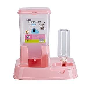 Aosbos 2 en 1 Distributeur Automatique de Nourriture Croquette et d'eau pour Chat et Chien avec Gamelle et Bouteille - 3L