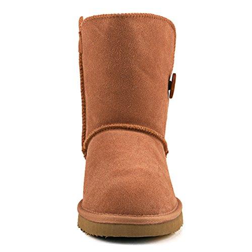 ShenDuo Damen Winterstiefel Halb Schlupfstiefel Leder Boots mit Knopf DA5803 Chestnut