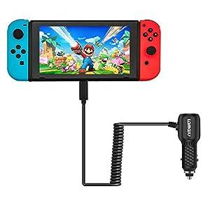 Lammcou Auto Ladegerät für Nintendo Switch Typ-C Auto Ladegerät Switch Adapter Universal KFZ Ladegerät für Switch Smartphone USB-C-Ladegerät Super Mario Pokemon Splatoon Minecraft Let's Sing 2019 FIFA