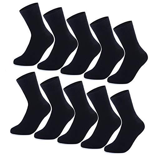 YouShow Socken Herren Damen Unisex Baumwollsocken 10 paar Schwarz für Business Komfort-Bund(Schwarz,43-46)