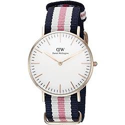 Daniel Wellington 0506DW - Reloj con correa de acero para mujer, color de la correa azul, blanco y rosa