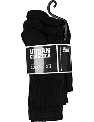 Preisvergleich Produktbild Urban Classics Herren Sport Socks 3-Pack,  Schwarz (Black 7),  47 / 50